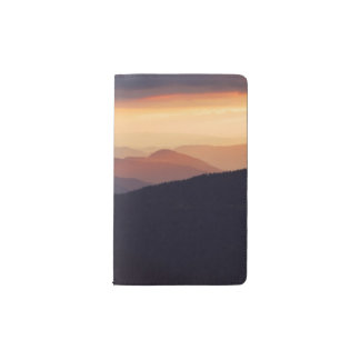 Mountain landscape with a fantastic sunset pocket moleskine notebook