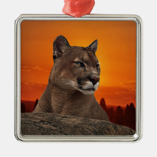 Mountain lion at sunset metal ornament