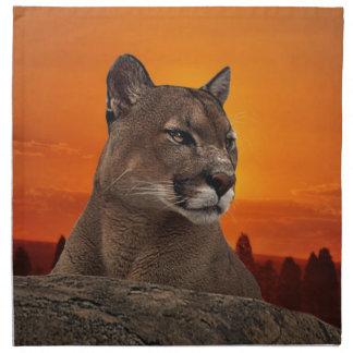 Mountain lion at sunset napkin