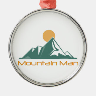 Mountain Man Silver-Colored Round Ornament