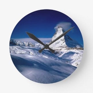 Mountain Matterhorn Valais Switzerland Round Clock