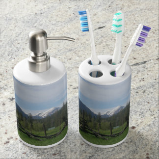 Mountain Meadow Soap Dispenser And Toothbrush Holder