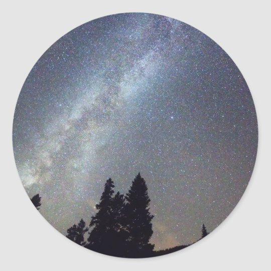 Mountain Milky Way Stary Night View Classic Round Sticker