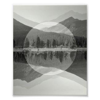 Mountain Mirror Black & White Photo Print