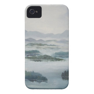 Mountain Misty Lake Peaceful Blue Landscape iPhone 4 Covers