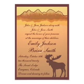 "Mountain moose lake reflection wedding invites 5"" x 7"" invitation card"