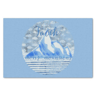 Mountain-moving Faith in Painterly Blues Tissue Paper
