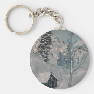 Mountain Painting Basic Round Button Keychain