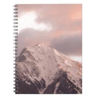 Mountain peak at sunrise notebook