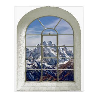 Mountain Peaks Curved Fake Window Acrylic Print