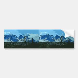 Mountain Peaks digital art - John Muir quote Bumper Sticker