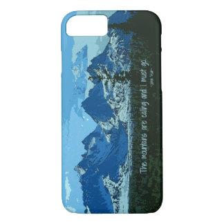Mountain Peaks digital art - John Muir quote iPhone 7 Case