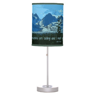 Mountain Peaks digital art - John Muir quote Table Lamp