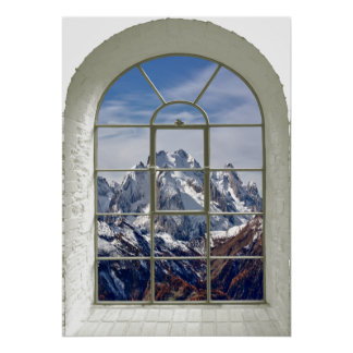 Mountain Peaks View Curved Fake Window Poster