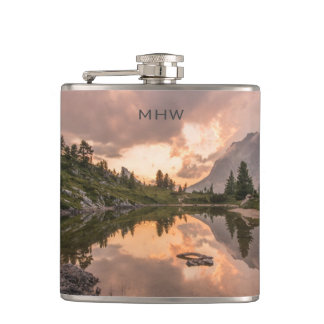 Mountain Pond custom monogram flask