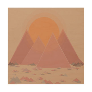 Mountain range in rocky landscape in searing heat wood wall art