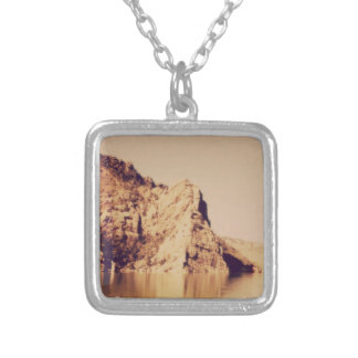 Mountain Range Near Water Nostalgic Postcard Image Silver Plated Necklace