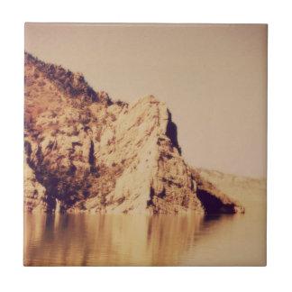 Mountain Range Near Water Nostalgic Postcard Image Tile
