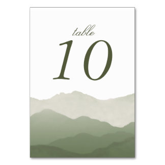Mountain Range Table Number Cards Table Cards