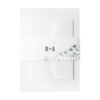 Mountain Range Wedding Belly Band Invitation Belly Band