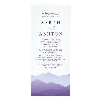 "Mountain Range Wedding Program 4"" X 9.25"" Invitation Card"