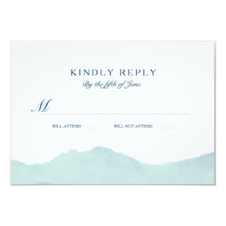 "Mountain Range Wedding RSVP 3.5"" X 5"" Invitation Card"