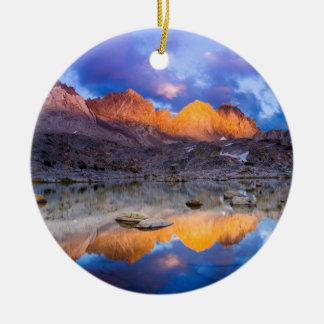 Mountain reflection, California Ceramic Ornament