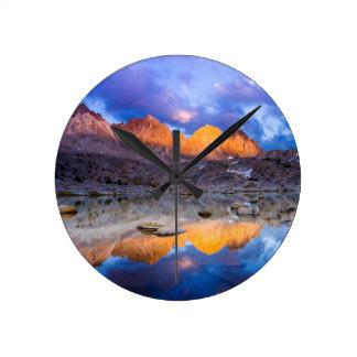 Mountain reflection, California Round Clock