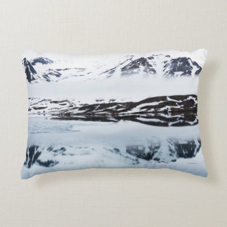 Mountain reflections, Norway Decorative Pillow