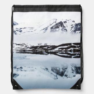 Mountain reflections, Norway Drawstring Bag