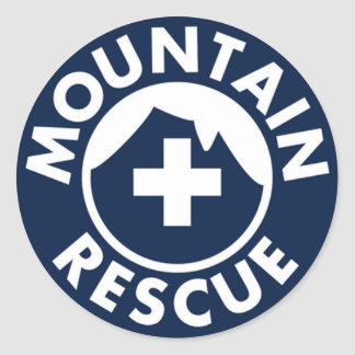 MOUNTAIN RESCUE EMERGENCY SEARCH OUTDOOR SOS CLASSIC ROUND STICKER