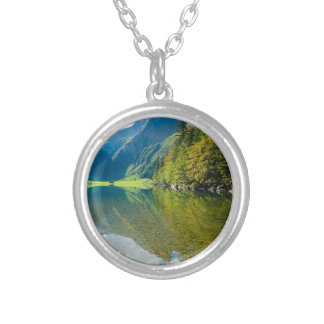 Mountain river green landscape silver plated necklace