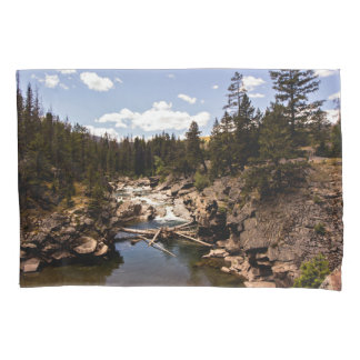 Mountain River Scene pillow case Pillowcase