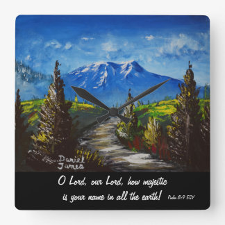 Mountain Road Scripture Square Wall Clock