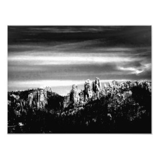 Mountain Scene in B W Photo Print