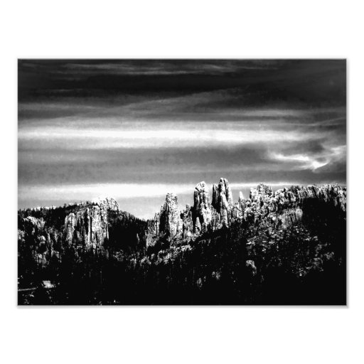 Mountain Scene in B/W Art Photo