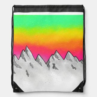 Mountain Scene Landscape Drawstring Bag