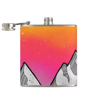 Mountain Scene Landscape Hip Flask