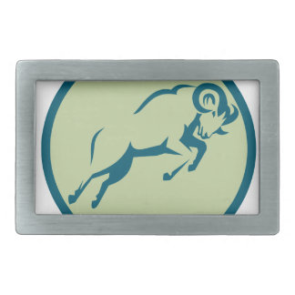Mountain Sheep Jumping Circle Icon Belt Buckle