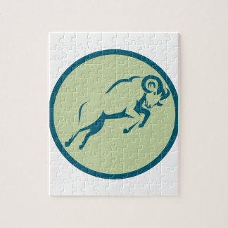 Mountain Sheep Jumping Circle Icon Jigsaw Puzzle