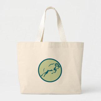 Mountain Sheep Jumping Circle Icon Large Tote Bag