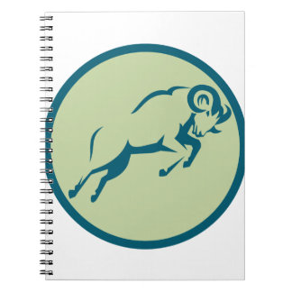 Mountain Sheep Jumping Circle Icon Notebook