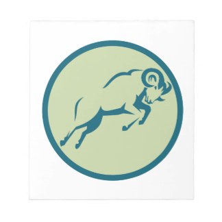Mountain Sheep Jumping Circle Icon Notepad