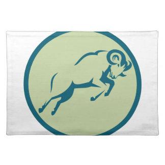 Mountain Sheep Jumping Circle Icon Placemat