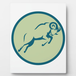 Mountain Sheep Jumping Circle Icon Plaque
