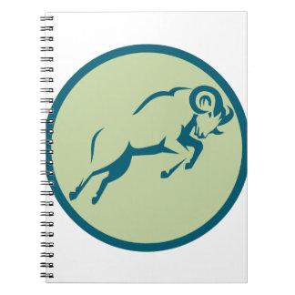 Mountain Sheep Jumping Circle Icon Spiral Notebook