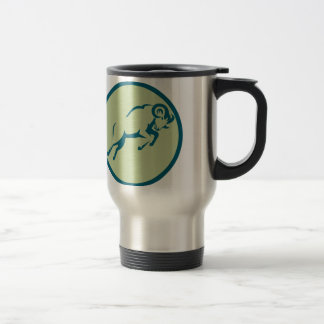 Mountain Sheep Jumping Circle Icon Travel Mug