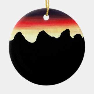 Mountain Silhouette Ceramic Ornament