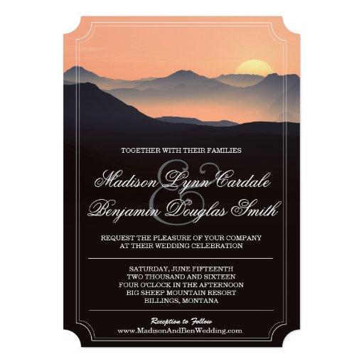 Mountain Silhouette Evening Sunset Wedding Invites