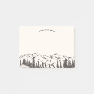 Mountain Sketch Personalized Post-it Notes